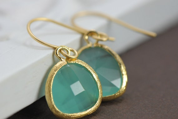 Drop Earring, Dangle Earring, Bridesmaid Gift Idea, Aqua Gold Earrings, Glass Earrings, Bridesmaid Jewelry, Teardrop Wedding Earrings