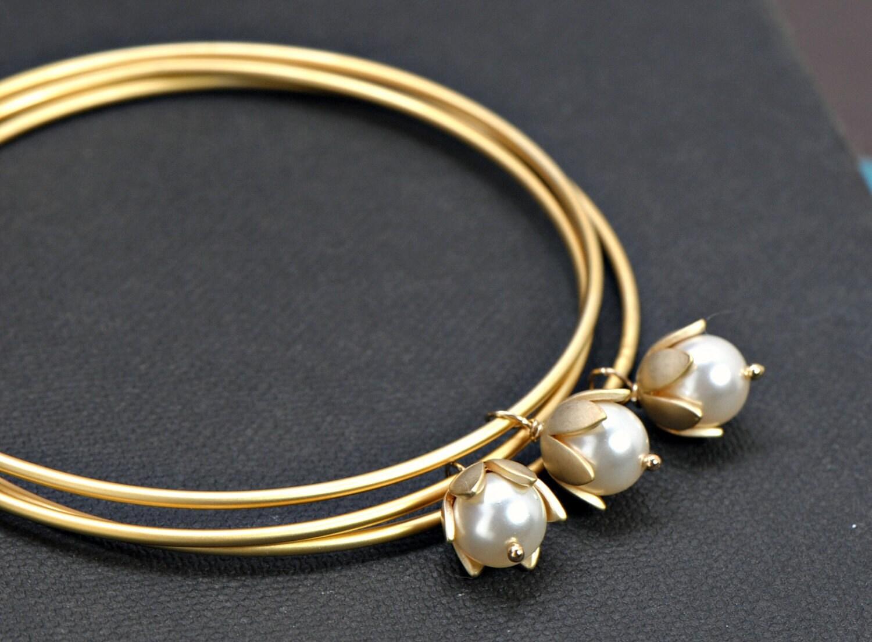 Gold Bangles Bracelet Pearl Bracelet Bangles Set of Three