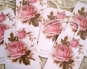 Shabby Pink Roses Gift Tags no 4 - Vintage - Victorian - French Script - Tea Dye - Embossed - Glitter - All Occasion - Buy 3 Get 1 Free