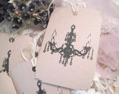 Shabby Pink Chandelier Gift Tags - Opalescent - Hand Stamped - Embossed - Wedding - Shower - All Occasion - Buy Three Get One Free