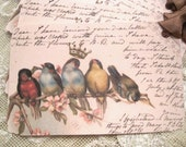 Shabby French Bird Gift Tags No20 - Post Cards - Carte Postale - Vintage - Paris - Crown - Ephemera  - Glitter - Large Sz - Buy 3 Get 1 Free