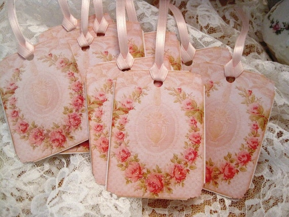 Shabby French Floral Wreath Gift Tags No 24 - Paris - Roses - Tea Dyed - Vintage - Wedding - Shower - Embossed - Glitter - Buy 3 Get 1 Free