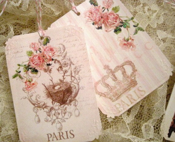 Shabby Pink Paris Gift Tags no 6d - Vintage - French - Crowns - Eiffel Tower - Roses - Birds - Easter - Glitter - Buy Three Get One Free