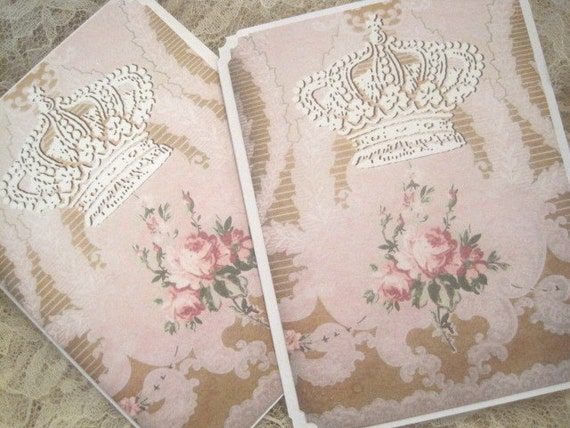 Shabby French Note Cards with Envelopes - Paris - Vintage - Victorian - Roses - Crown - Thank You - Miss You - Embossed - Blank Inside