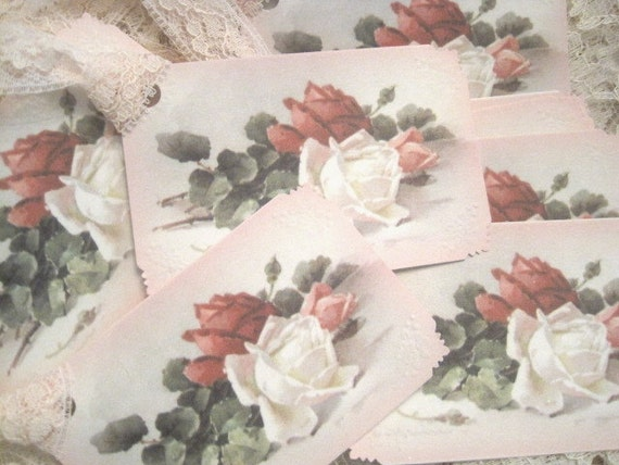 Shabby Chic Roses Gift Tags No 1 - Vintage Style - Cottage Chic - Pink Lace - Valentines Day - Easter - Wedding - Bridal Shower