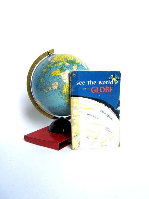 Vintage World Globe Retro 1950 Tin Litho Toy Booklet Set