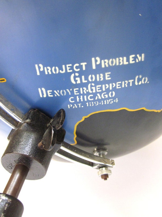 Vintage World Globe Military Project-Problem Industrial Chalkboard c1930's