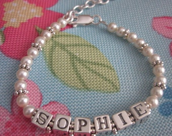 Pearly Girly Cream Pearl Baby/Toddler Name Bracelet