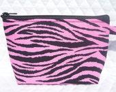 Pink Zebra print make up bag