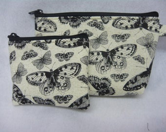 Black    Butterfly     make up bag and coin bag set