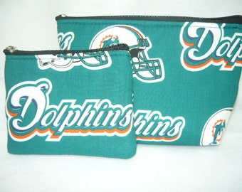 Miami Dolphins we have other NFL team. make up bag and coin bag set