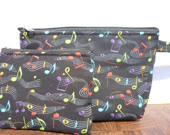 Neon Music Note  make up bag and coin bag set