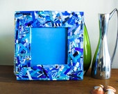 Recycled Magazines Frame - Square Blue Frame Made from Recycled Magazines