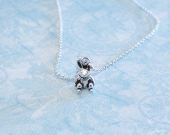 Bunny Charm Necklace - Antique Silver Rabbit Charm Necklace - Made in USA Charm