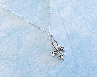 Fleur de Lis Charm Necklace - Antique Silver Fleur-de-Lis Necklace - Made in USA Charm
