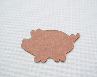 Pig Die Cuts - 6 Large Upcycled Chipboard Pigs Scrapbook Embellishments - 1 3/4""