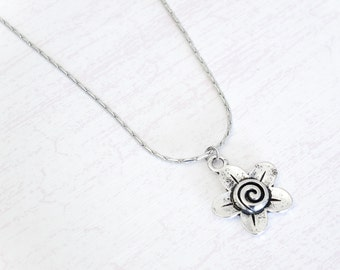 Flower Charm Necklace - Antique Silver Flower Swirl Charm Necklace