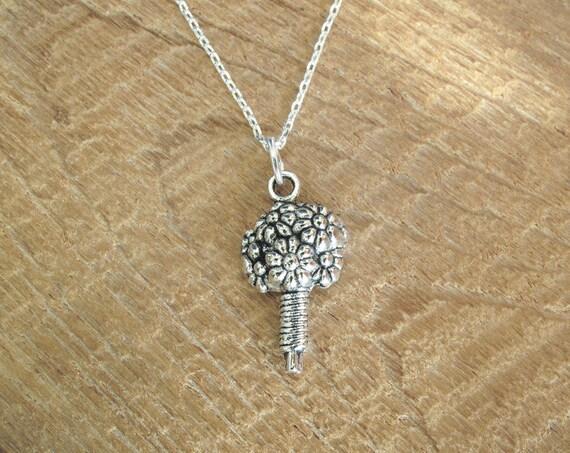 Flower Bouquet Necklace - Silver Bouquet of Flowers Pendant Necklace