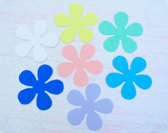 "Flower Die Cuts - 35 Assorted Color Flower Punches 1 1/16"" (27mm)"