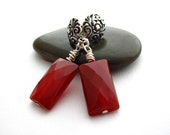Carnelian Rectangle Earrings on Sterling Silver Floral Posts