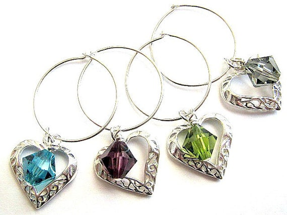 Wine Charms / Wine Markers Sterling Silver Filigree Hearts Swarovski Crystals Wedding Housewarming Drink IDs Party Favors