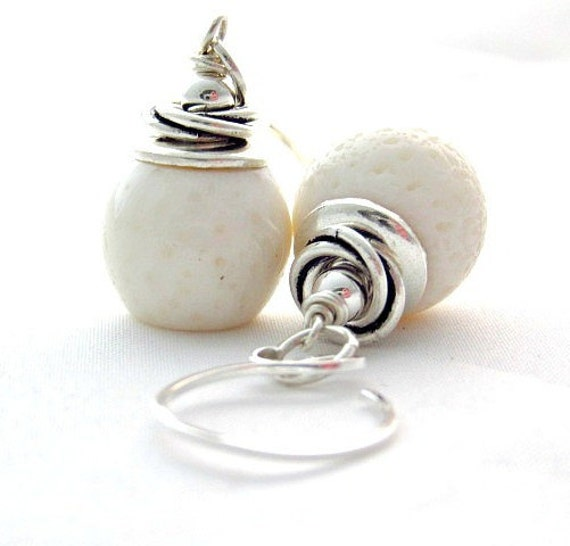 White Coral Earrings in Sterling Silver