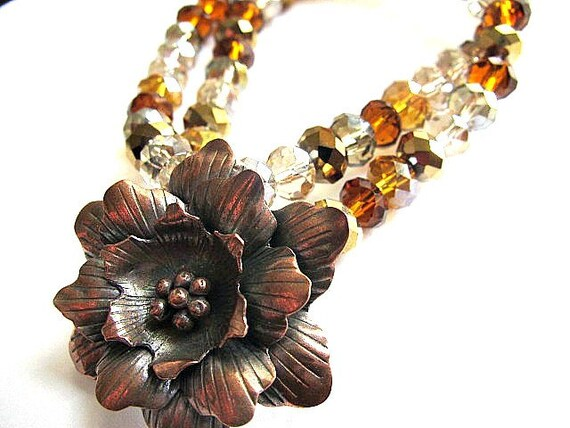 Copper Flower Pendant Necklace Chinese Crystals Rustic Autumn Fashion Jewelry