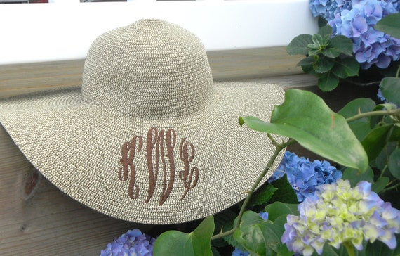 Personalized Monogrammed Natural or Black Wide Brim Floppy Derby Hat