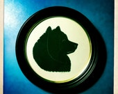 Pet Silhouette in a Round Wooden Frame - 10% donated to Animal Rescue League of Southern Rhode Island
