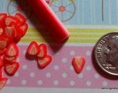Kawaii Flexible Strawberry Slice Cane for Miniatures, Kawaii Crafts, Decoden, Nail Art