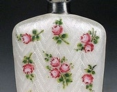 Reserved for Nicole Antique 1920's Sterling Silver Enamel Guilloche Roses Perfume Scent Bottle Flask Germany