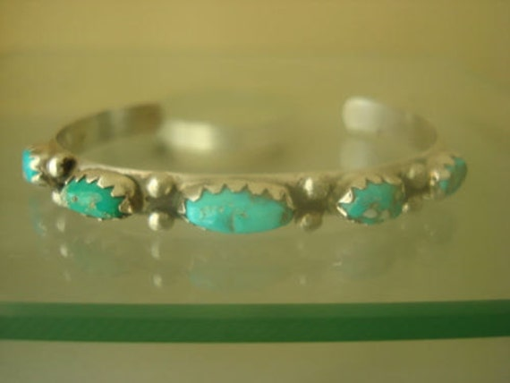Artisan Crafted Southwestern Sterling Silver Turquoise Stackable Cuff Bracelet