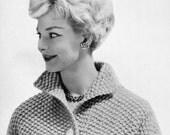 Women's Bulky-knit Cropped Seed-Stitch Jacket -- PDF KNITTING PATTERN