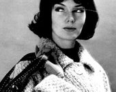 Women's 1960s Vintage Textured-Stitch Car Coat -- PDF KNITTING PATTERN