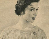 Women's 1950s Vintage Fitted Lacy Blouse with Wide Neckline -- PDF KNITTING PATTERN