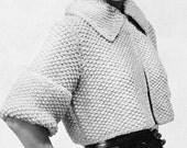 Women's 1960s Vintage Collared Cropped Jacket  -- Knitting Pattern - PDF KNITTING PATTERN