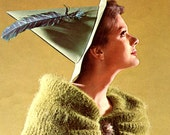 Women's Vintage 1960s Long Mohair Coat with Draped Collar -- PDF KNITTING PATTERN