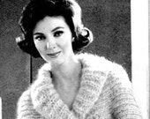 Women's 1960s Retro Mohair Shrug with Flared Cuffs and Shawl Collar -- PDF KNITTING PATTERN