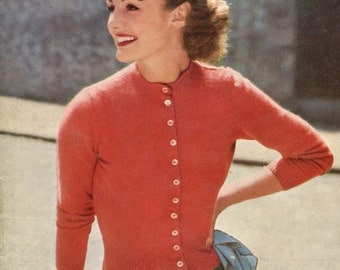 Classic 1950s Vintage Fitted Button-up Cardigan -- PDF KNITTING PATTERN