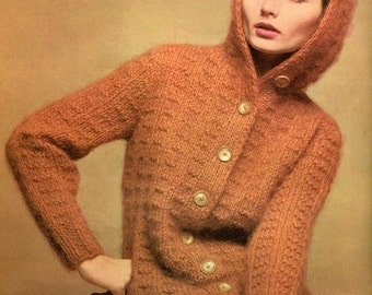 Women's 1960s Retro Mohair Hoodie with Textured Stitch -- PDF KNITTING PATTERN