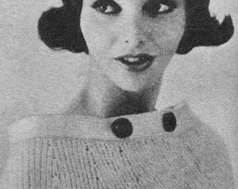 Women's 1960s Vintage Sweater-Cape -- PDF KNITTING PATTERN