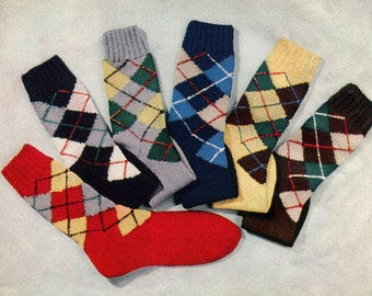 1950s Vintage Argyle Socks -- PDF KNITTING PATTERN