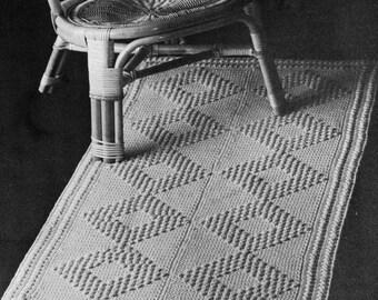 1960s Vintage Rug with Diamond Pattern -- Crocheted -- PDF CROCHET PATTERN