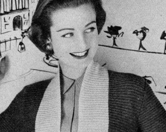 Women's 1950s Vintage Fitted Cardigan -- PDF KNITTING PATTERN