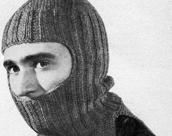 1950s Vintage Knitted Helmet -- Balaclava -- PDF KNITTING PATTERN