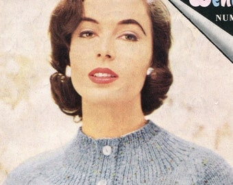 Women's 1950s Vintage Fitted Cardigan with High Rib and Crewneck -- PDF KNITTING PATTERN
