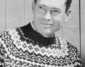"Men's Vintage ""Fair Isle"" Pullover - PDF KNITTING PATTERN"