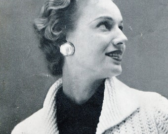 Women's Vintage Chunky-Knit Cropped Jacket -- PDF KNITTING PATTERN