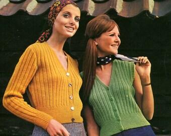 Women's 1960s Retro Ribbed Cardigan and Vest -- PDF KNITTING PATTERN