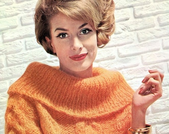Ladies' 1960s Retro Cowl-neck Pullover -- PDF KNITTING PATTERN